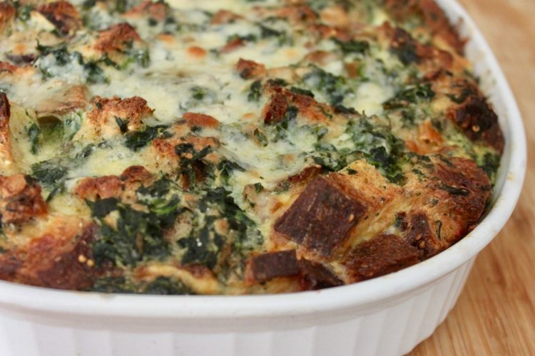Spinach and Cheddar Whole Wheat Strata
