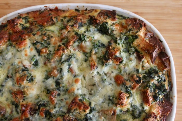 healthy brunch spinach sausage strata