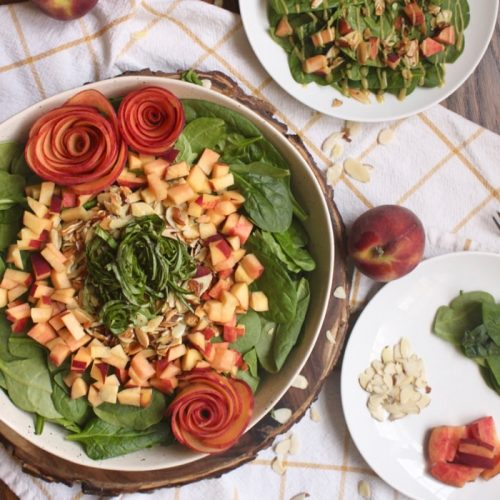 best peach basil spinach salad recipe