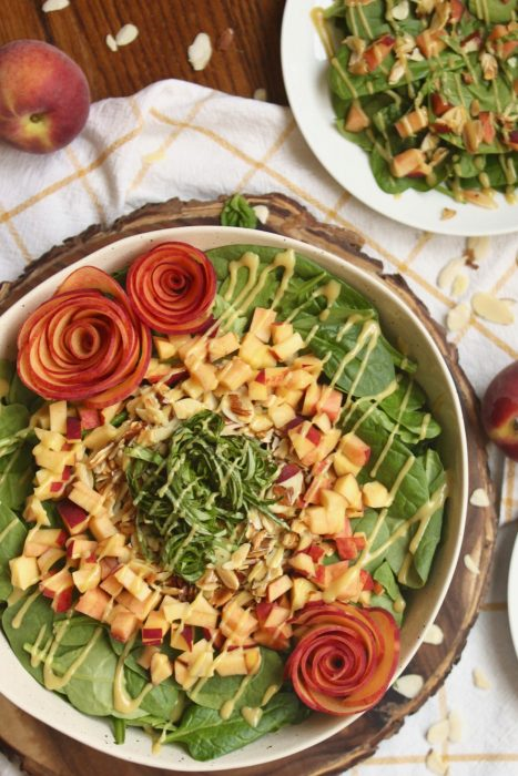paleo peach basil spinach salad recipe