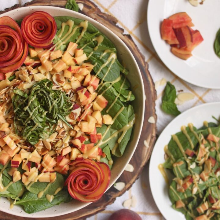vegan peach basil spinach salad recipe