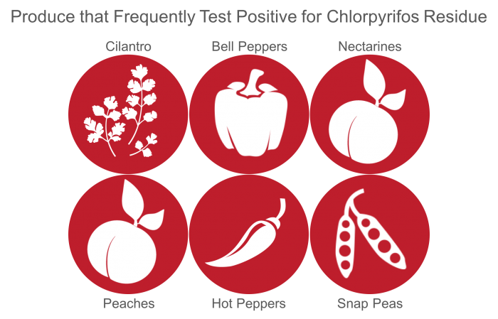 Produce with highest number of chlorpyrifos residue detections.