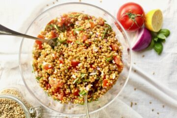 vegan wheat berry bruschetta salad recipe