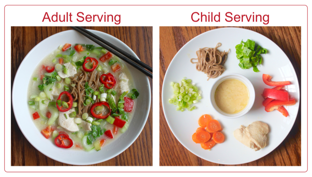 Healthy meals for children deconstructed ginger coconut soup with soba noodles