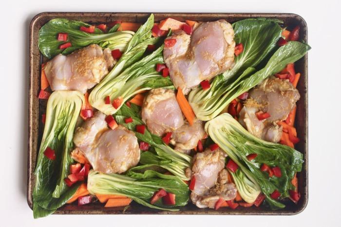 Gluten-free roasted Sesame Ginger Chicken and Vegetable dinner