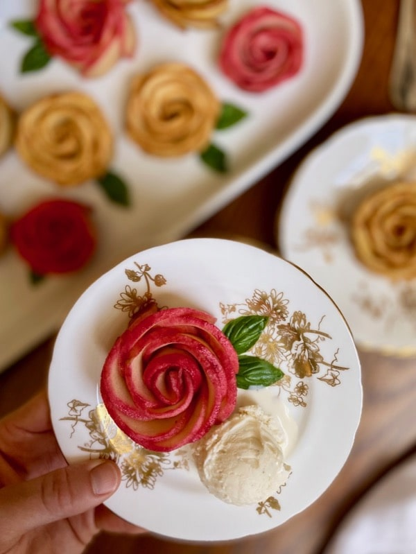 baked honey apple roses with ice cream