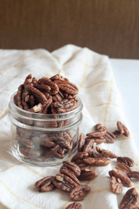paleo cinnamon spice candied pecans