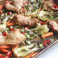 Roasted Sesame Ginger Chicken Sheet Pan and Veggies
