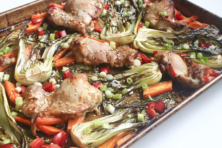 healthy sesame ginger roasted chicken sheet pan recipe