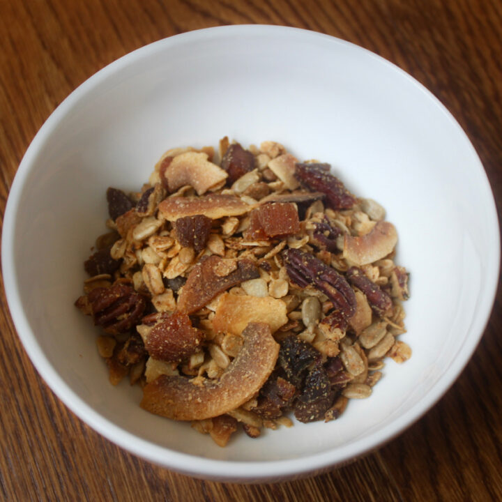 protein packed apricot maple pecan granola with coconut gluten free vegan
