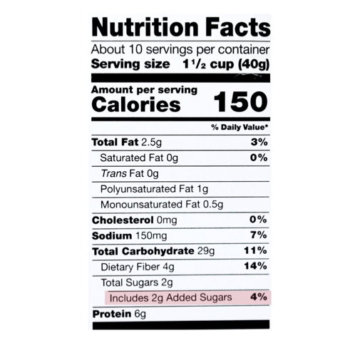 How to identify added sugar on the updated nutrition facts label include added sugar