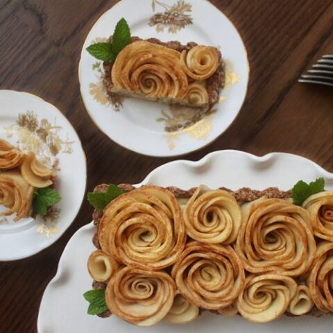 paleo apple roses top this dairy free tart filled with coconut cream
