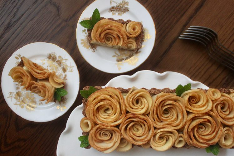 Apple Rose Tart with Coconut Pastry Cream {Dairy-Free}