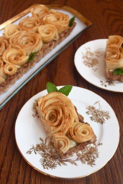 Paleo apple rose tart with dairy free coconut custard