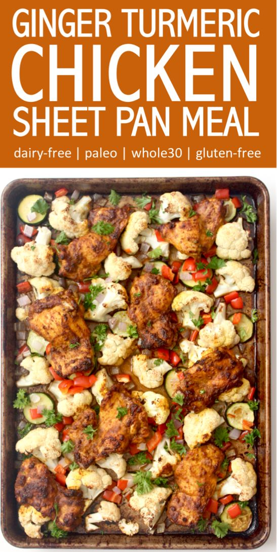 Roasted ginger turmeric chicken and veggies sheet pan dinner