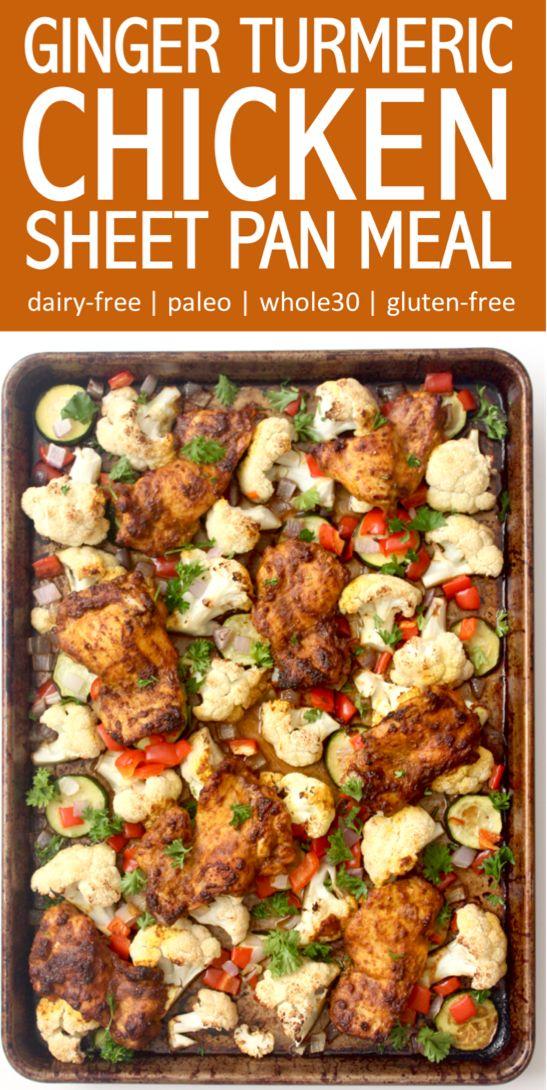 Roasted ginger turmeric chicken and veggies sheet pan dinner