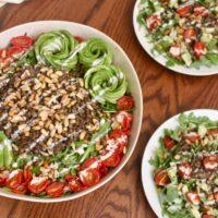Arugula Lentil Salad with Cumin Toasted Pine Nuts and Creamy Lemon Tahini Dressing {Vegan}
