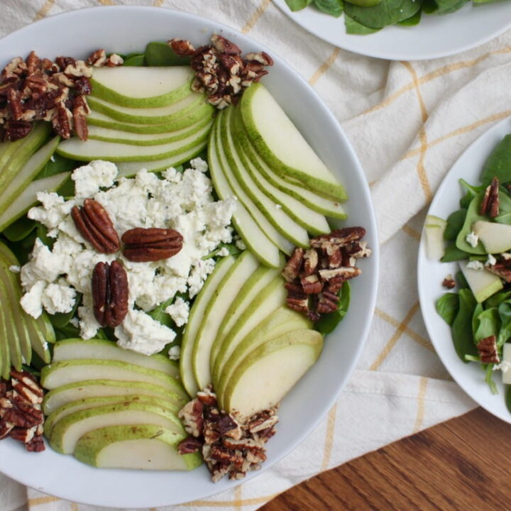 Spinach, Pear and Toasted Pecan Salad with Boursin Cheese