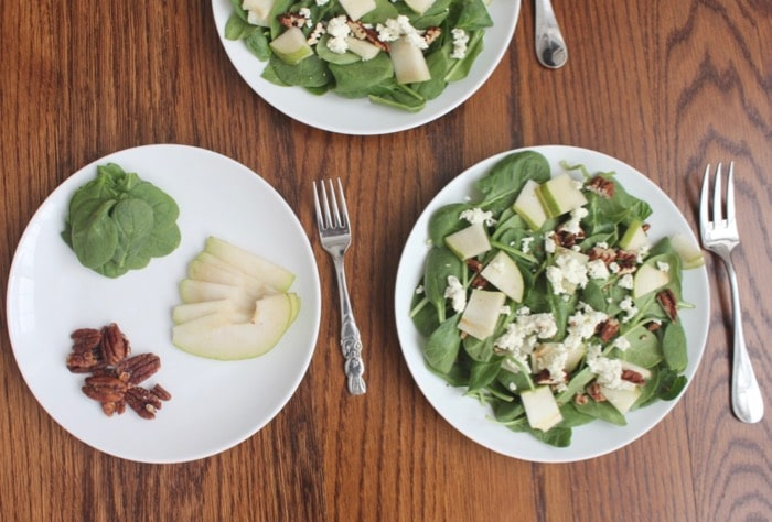 This spinach and pear salad can be served deconstructed with the ingredients separated for picky eaters