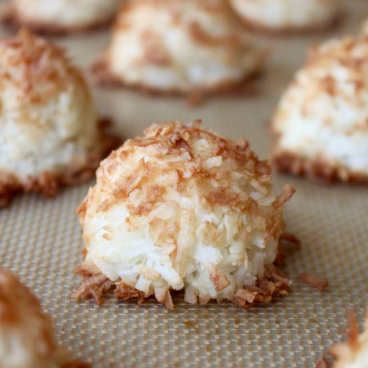 Easy to make paleo coconut macaroon recipe with only three ingredients