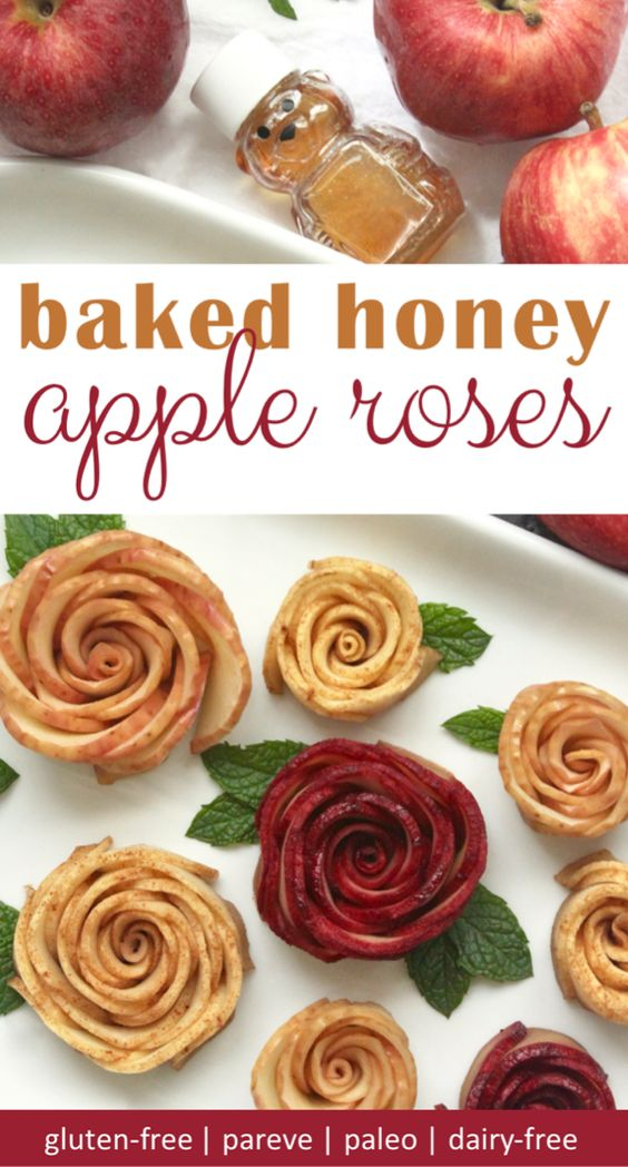 Apples and honey baked together to make apple roses that are delicious and beautiful