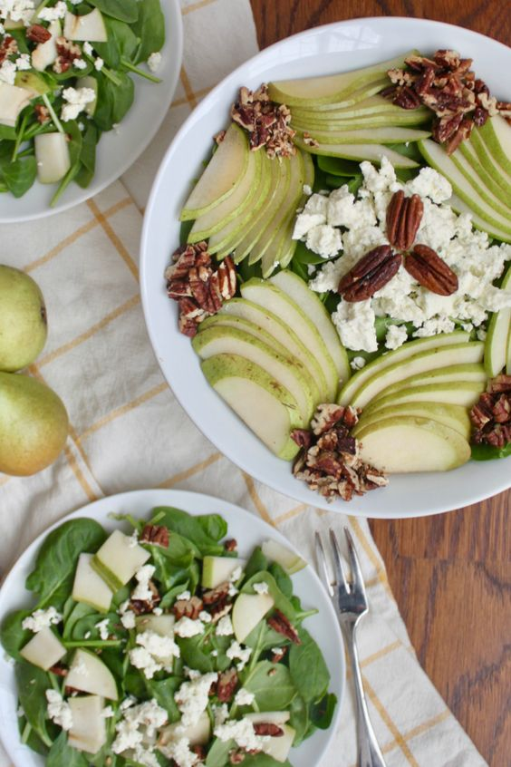 Spinach Pear Pecan Salad with Boursin cheese vertical