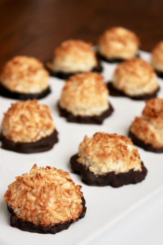 Paleo coconut macaroons dipped in chocolate