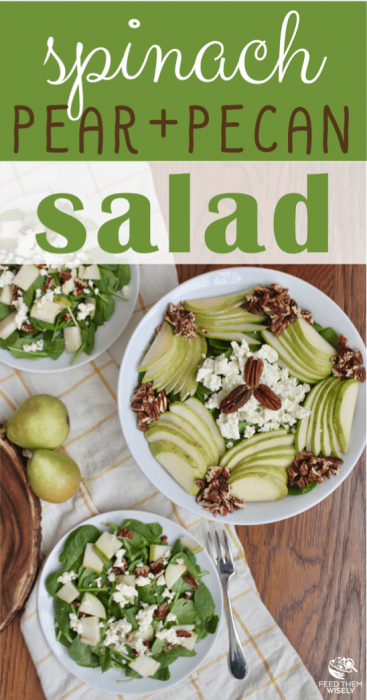 spinach pear and toasted pecan salad with boursin cheese