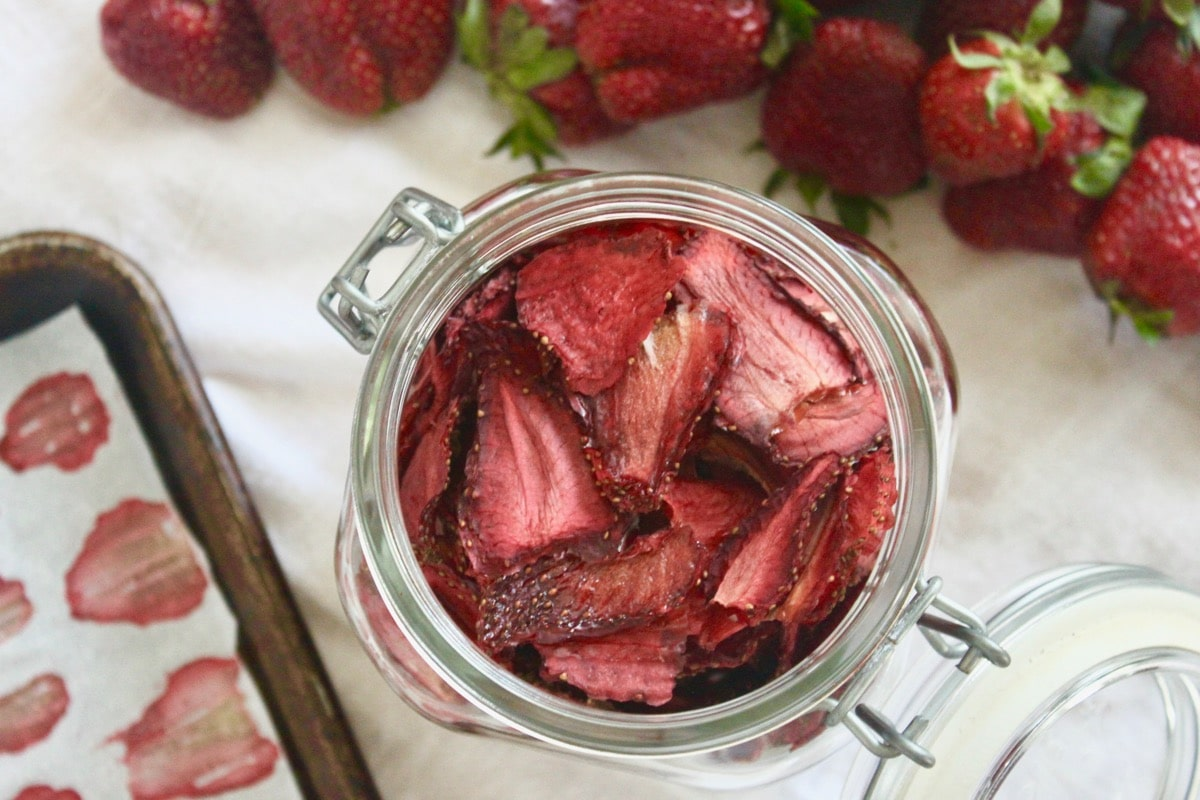 Dried strawberry slices in a jar