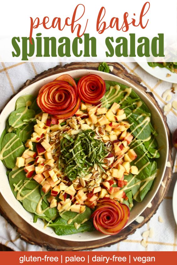 peach basil spinach salad
