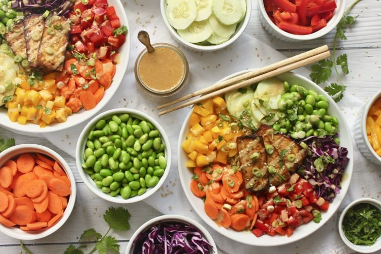 Easy rainbow buddha bowl recipe with ginger miso dressing