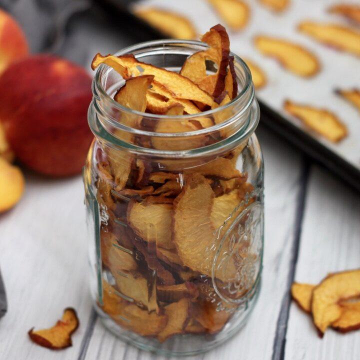 Oven Dried Peach Chips {Vegan, Paleo}
