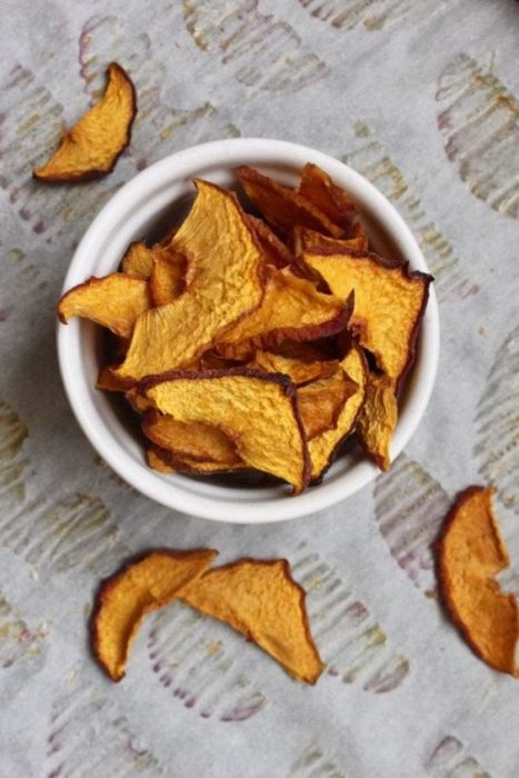 easy baked peach chips are a crispy crunchy healthy kid snack