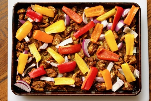 Chicken shawarma sheet pan ready to bake