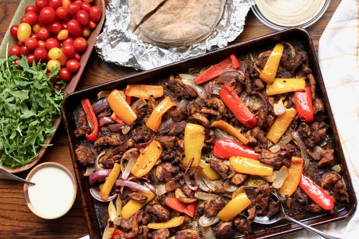 Sheet Pan Chicken Shawarma Dinner {Whole30, Paleo}
