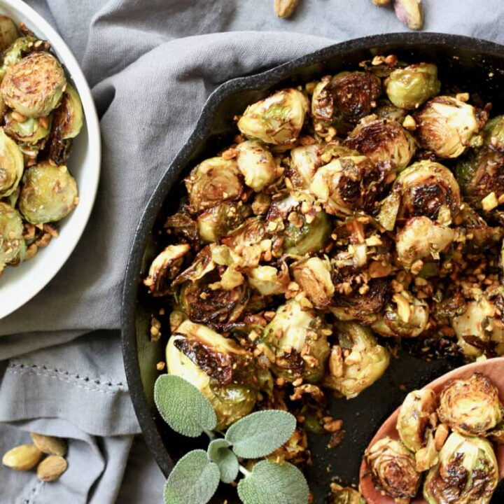 Vegan skillet roasted brussel sprouts with pistachio sage relish