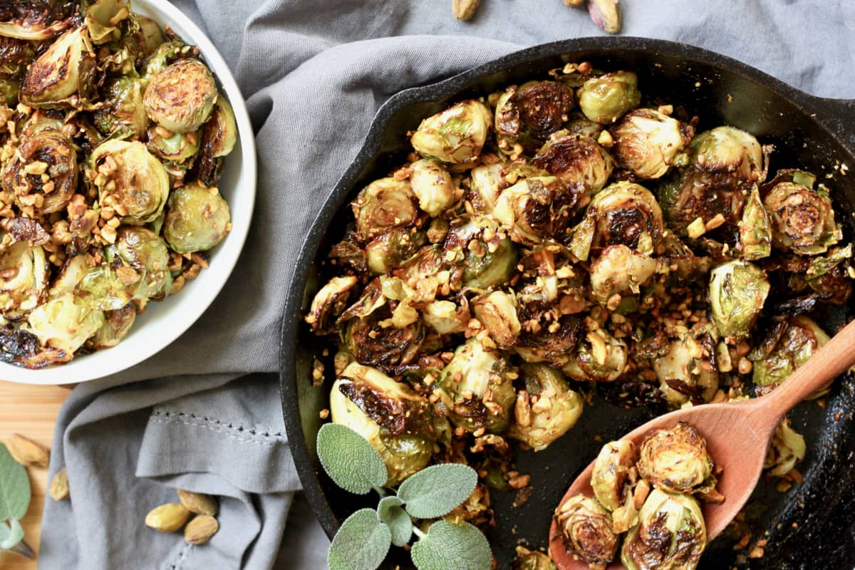 Crispy Brussels Sprouts with Pistachio Sage Relish {Vegan & Gluten-Free}