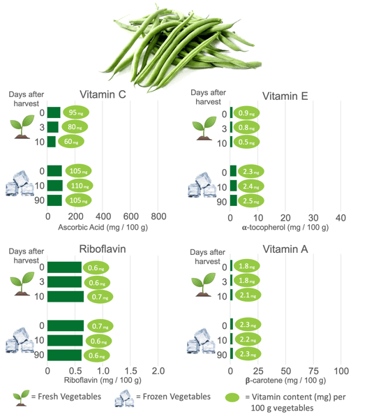 Vitamin Content in Frozen Green Beans and Fresh Green Beans