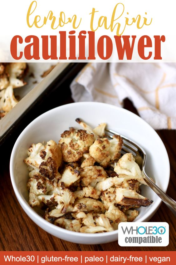 Lemon tahini roasted cauliflower