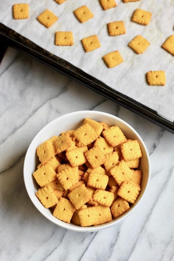 Homemade grain free Cheez Its crackers