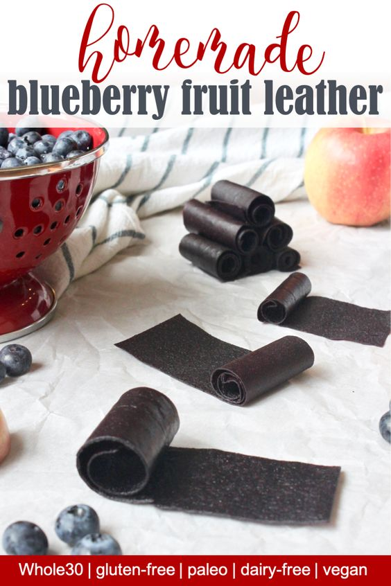 Easy to make homemade blueberry fruit leather