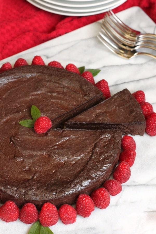Paleo Chocolate Truffle Cake with Raspberries