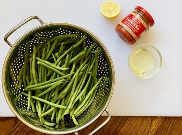 ingredients for roasted harissa green beans