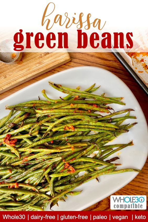 whole 30 compatible harissa green beans recipe pin