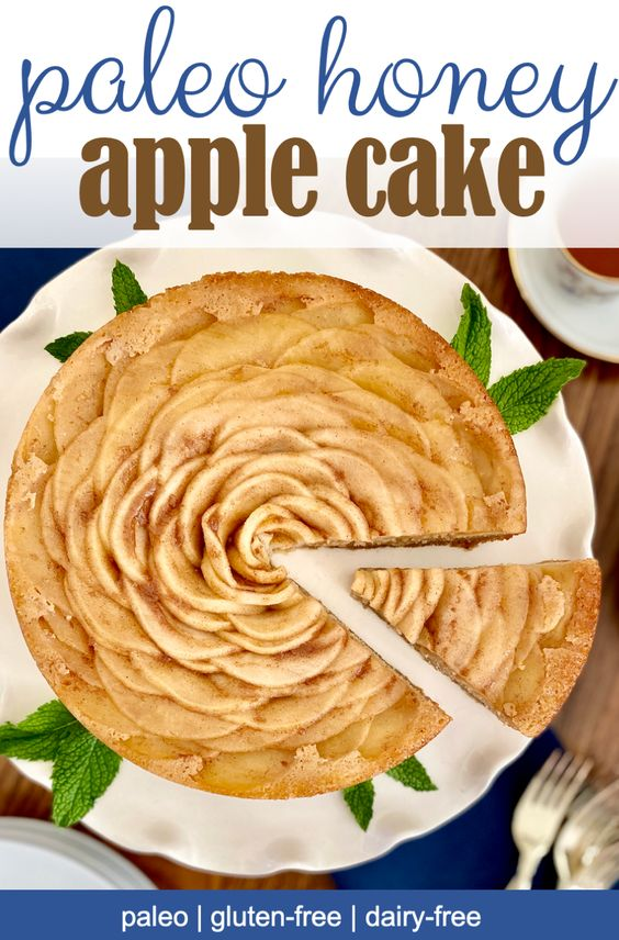 rose shaped paleo apple honey cake with mint garnish