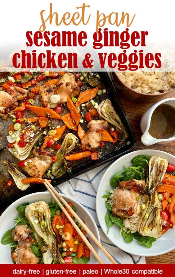 sheet pan paleo sesame ginger chicken and veggies dinner
