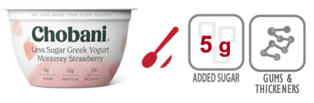 chobani less sugar greek yogurt strawberry nutrition information