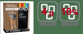 Kind Bar Madagascar Vanilla Almond granola bar nutrition information