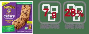 annies organics chewy chocolate chip granola bar nutrition information
