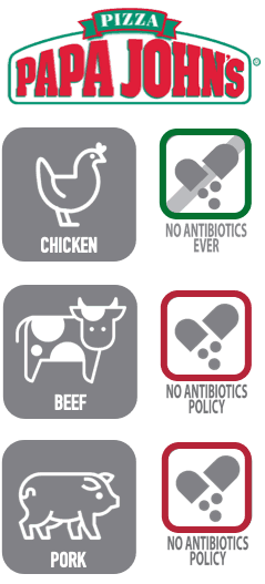 "Papa John's serves chicken raised with ""no antibiotics ever""."